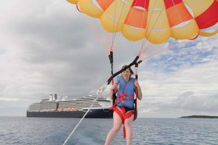 Parasailing by the Holland America Westerdam