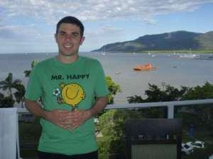 Aaron on hotel balcony