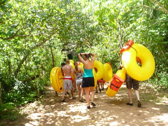 carrying tubes through the jungle