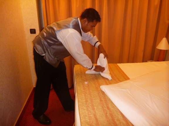folding Carnival's towel seal