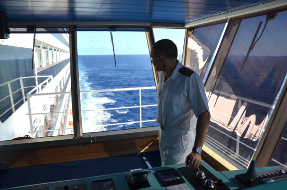Captain on the bridge of Carnival Liberty
