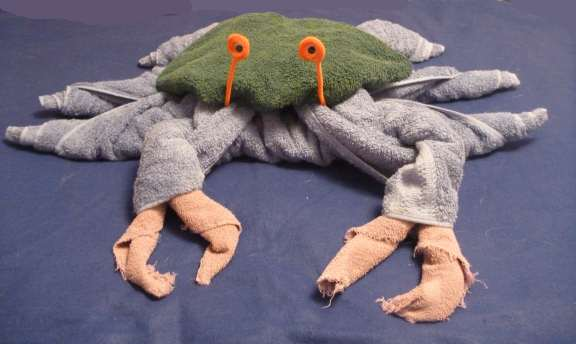 how to fold a towel crab