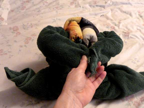 how to fold a towel frog