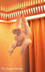 towel origami, how to make a towel monkey