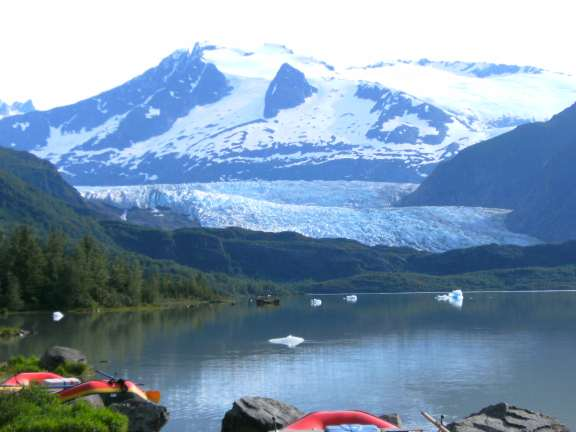 on the shores of Mendenhall Lake