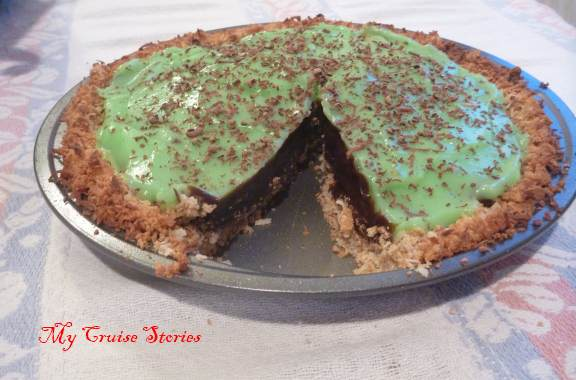 chocolate pistachio pie in coconut graham cracker pie shell