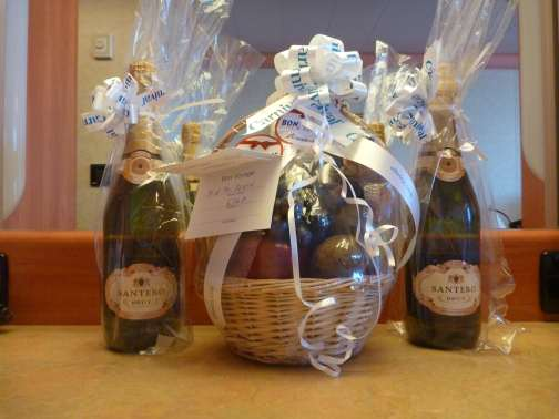 champagne and fruit basket - gifts from the crew