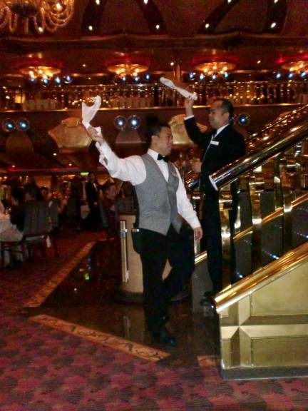 cruise ship waiters singing and dancing