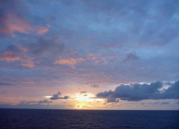 sunrise from the exercise track on Carnival Breeze
