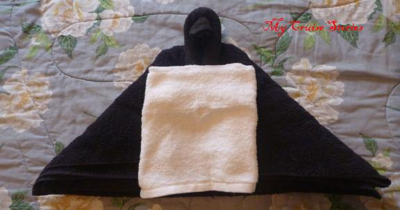 making a  towel penguin