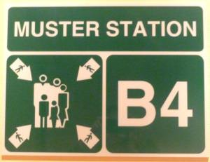 cruise ship muster station sign