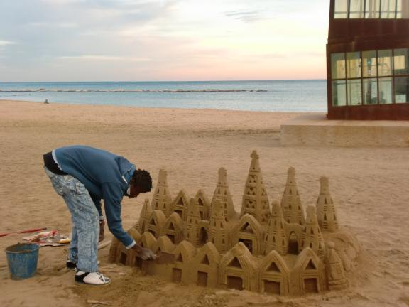 making a sandcastle