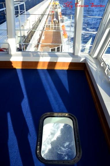 window in the floor of the bridge on Carnival Breeze