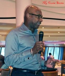 comedian performing at comedy brunch on Carnival Breeze