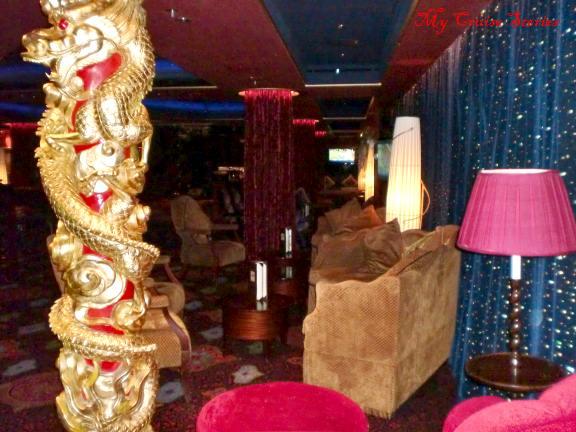 this cruise ship bar has a bowling alley