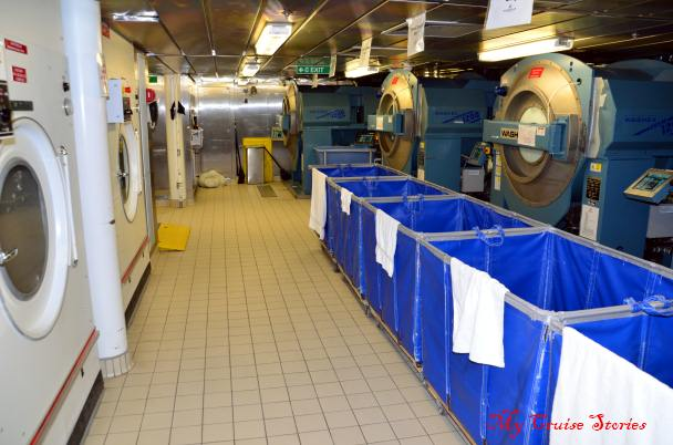 mountains of laundry washed daily on cruise ships