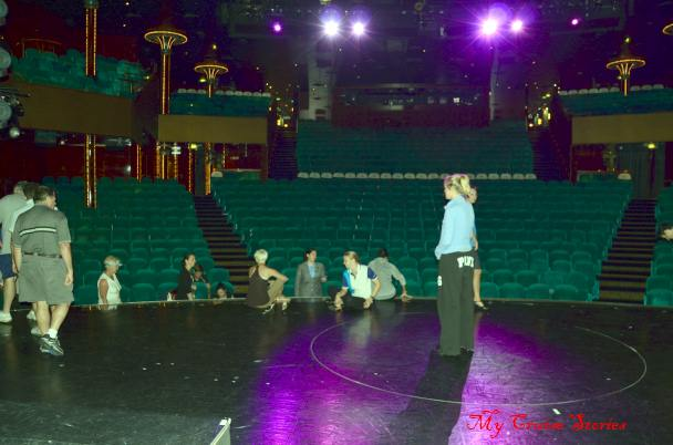 cruise ship performers rehersing