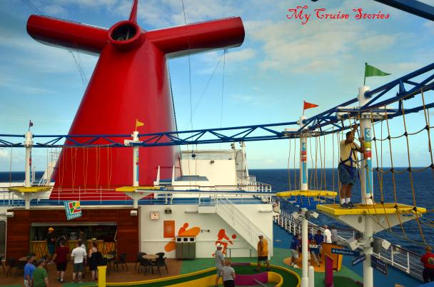 ropes course on Carnival Breeze