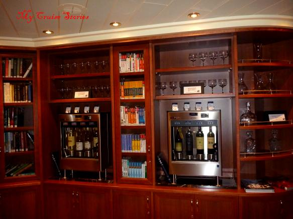 bar in the library on a cruise ship