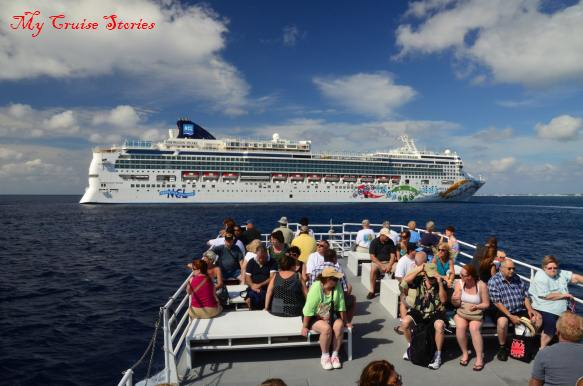 island tender transports cruise ship passengers to Grand Cayman