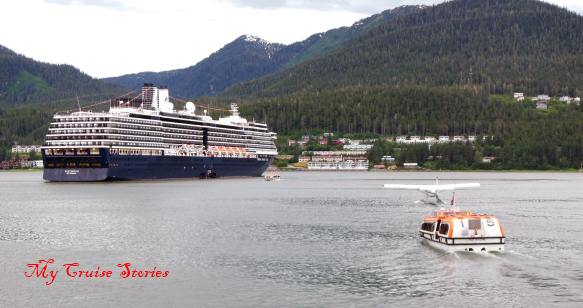 cruise ship anchored in Juneau