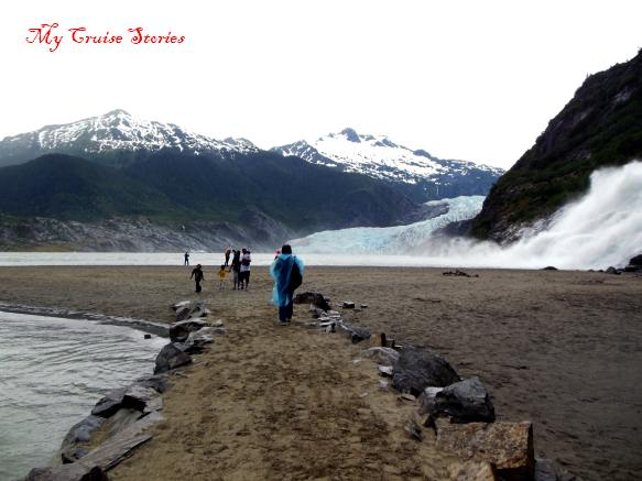 end of the trail to Mendenhall Glacier
