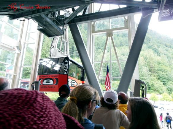 a crowd waits to get on the Mt Roberts tramway