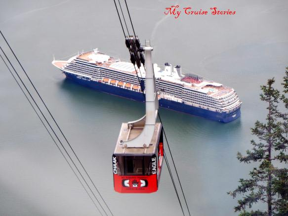 cruise ship anchored in Juneau and tram