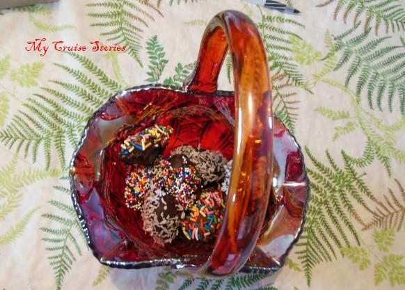 Easter basket full of homemade candy Easter eggs