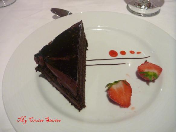 cruise ship chocolate cake on Carnival Breeze