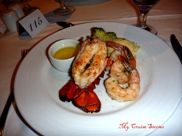 lobster dinner on a cruise ship