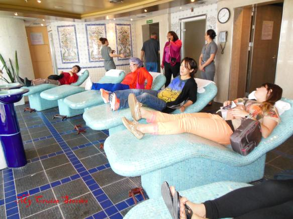 ceramic tile heated spa chairs