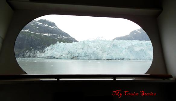 porthole view of glacier