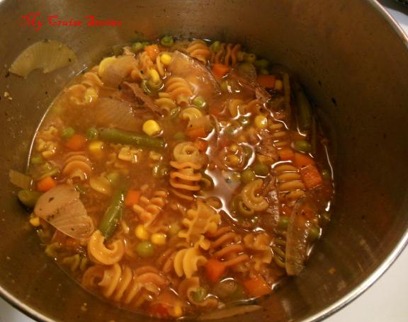 use the leftover liquid from cooking the roast to make soup