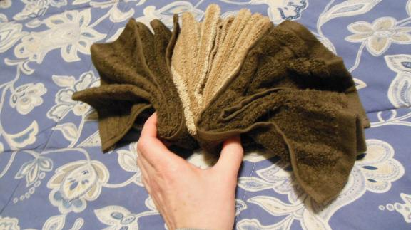 three washcloths make a towel turkey tail