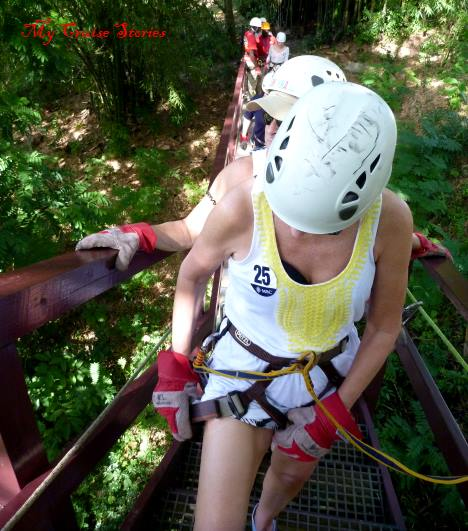 on the zipline platform