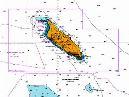 nautical chart of Aruba