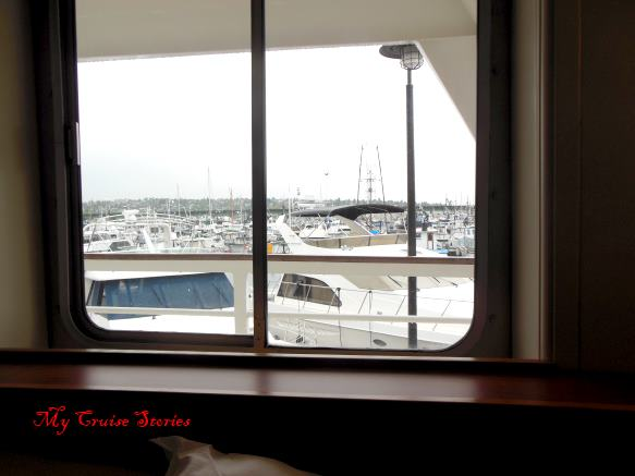 view window in cruise ship cabin