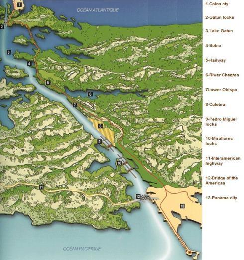 chart of Panama Canal