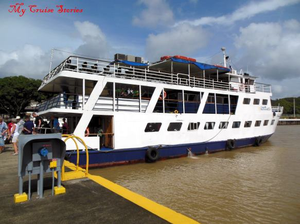 boat docked in the Panama Canal