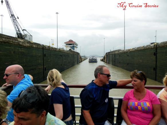 inside the locks at the Panama Canal