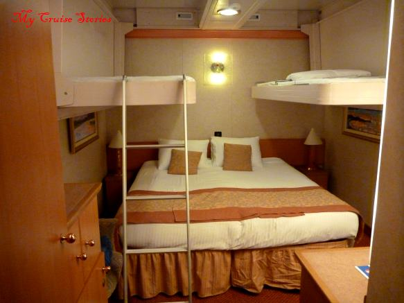 cruise ship cabin with drop down bunks