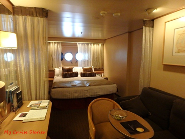 Stateroom with portholes
