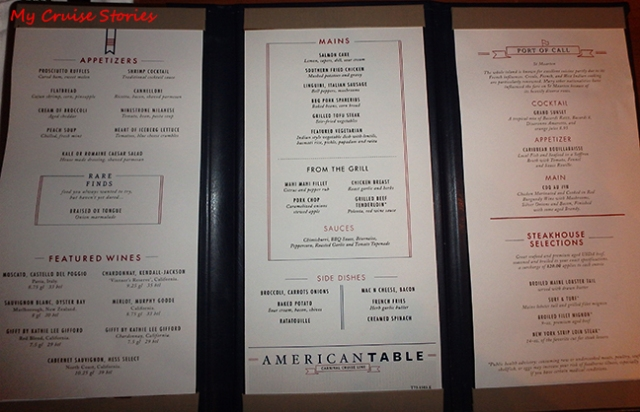 Carnival S New American Table Vs The Traditional Menu