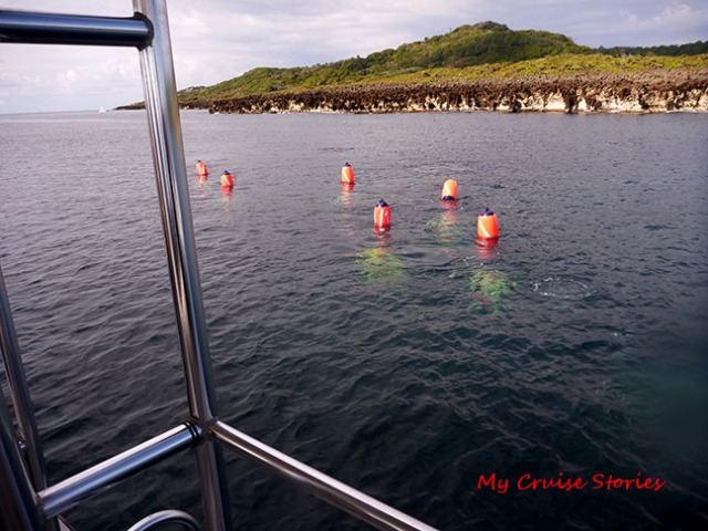 each scooter is tethered to a buoy