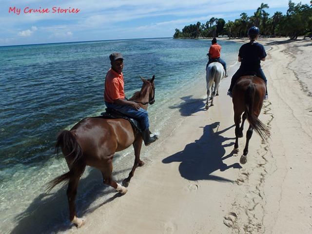 riding horses on the beach in Jamaica