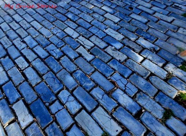 cobblestone road of blue bricks