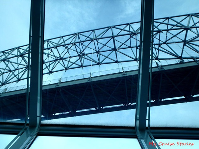 cruising under a bridge