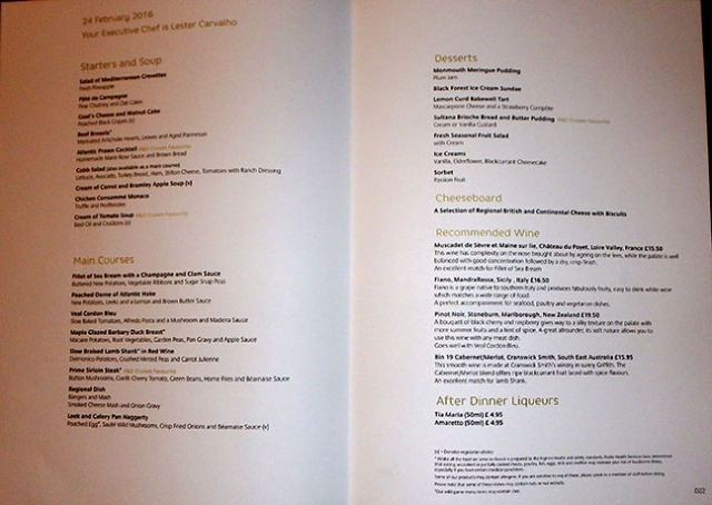 cruise ship dinner menu