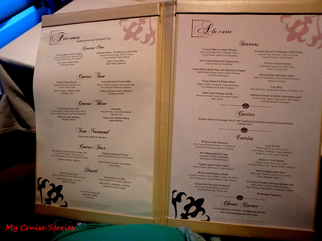 menu at cruise ship premium restaurant